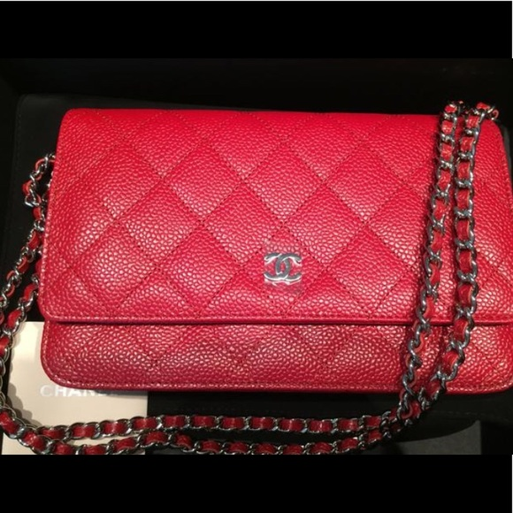 6e6917ab CHANEL RED CAVIAR LEATHER WALLET ON CHAIN WOC